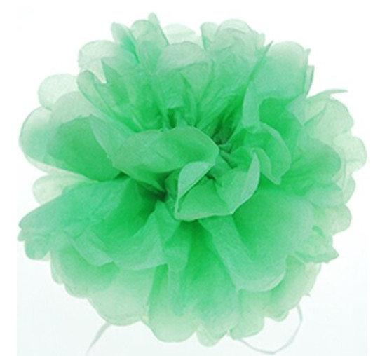 Pompons - zīdpapīra zieds - 15, 20 cm - gaiši zaļš