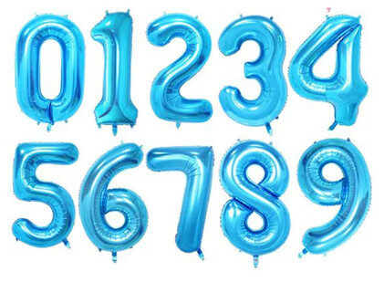 Balons cipars gaiši zila, 70 cm