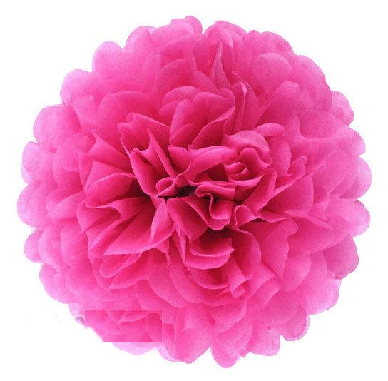 Pompons - zīdpapīra zieds - 10, 15, 20 cm - tumši rozā