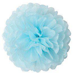 Pompons - zīdpapīra zieds - 15 , 20 cm - spilgti gaiši zils