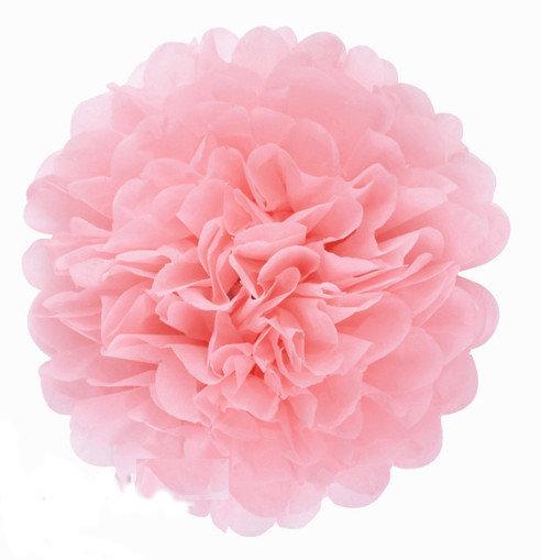 Pompons - zīdpapīra zieds - 10 cm 20 cm - gaiši rozā