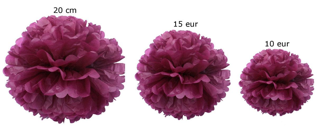 Pomponi papīra ziedi, komplekts 15 gab - burgundy