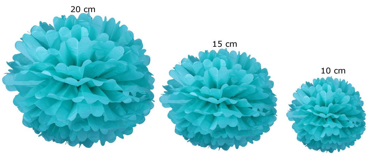 Pomponi zīdpapīra ziedi, komplekts 15 gab - gaiši zils