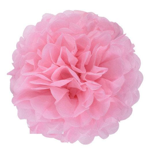 Pompons - zīdpapīra zieds - 10, 15 cm - rozā