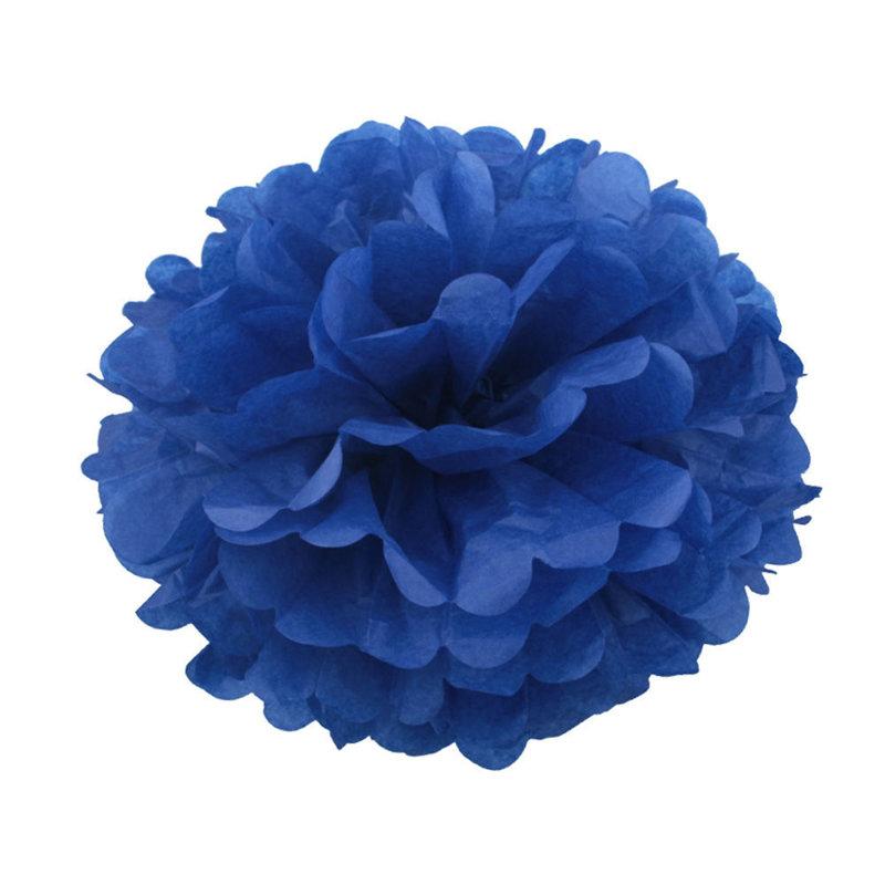 Pompons - zīdpapīra zieds - 10, 15, 20 cm - tumši zils