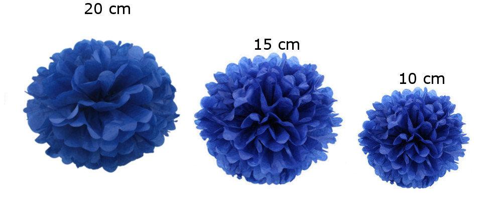 Pompons set of 15 - dark blue
