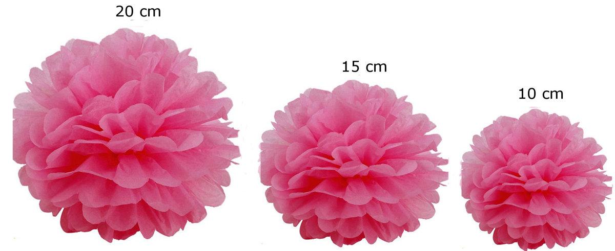 Pomponi papīra ziedi, komplekts 15 gab - tumši rozā