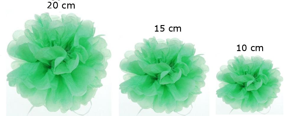 Pomponi papīra ziedi, komplekts 15 gab - gaiši zaļš
