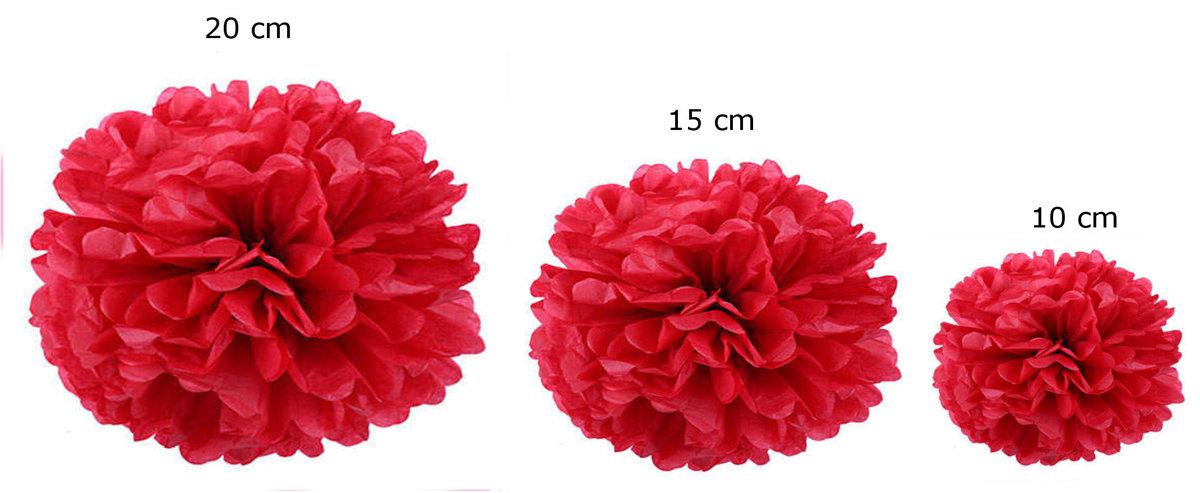 Pompons set of 15 - red