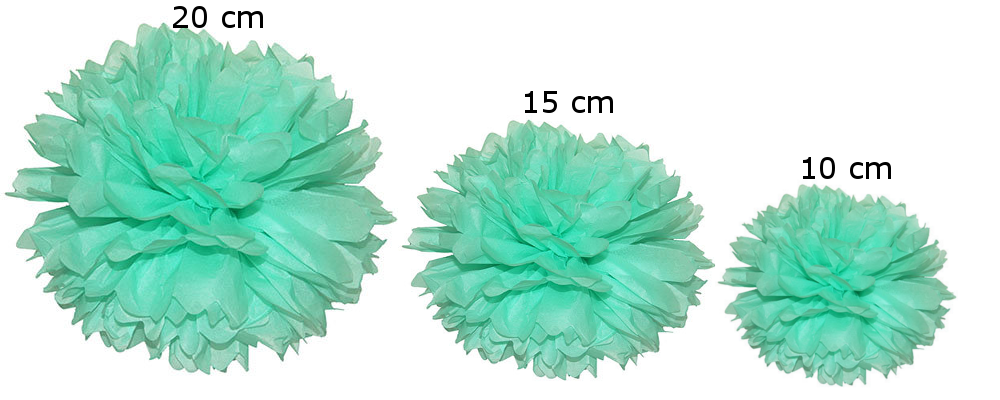 Pomponi zīdpapīra ziedi, komplekts 15 gab - piparmētru