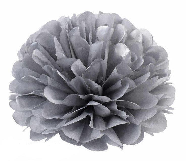 Pompons - zīdpapīra zieds - 15 cm - sudraba