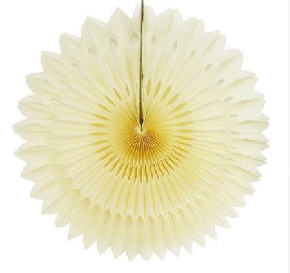 Atvērams papīra svētku dekors - rozete - 20 cm, bēša
