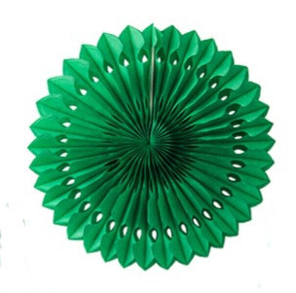 Atvērams papīra svētku dekors - rozete - 20 cm, tumši zaļa