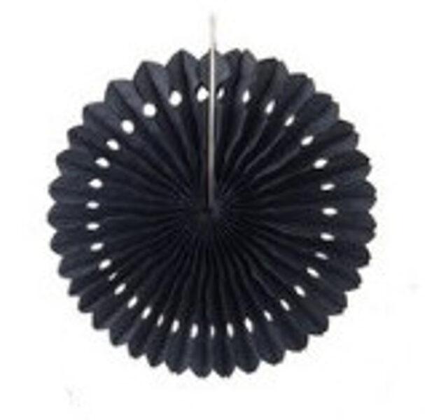 Atvērams papīra svētku dekors - rozete - 20 cm, melna