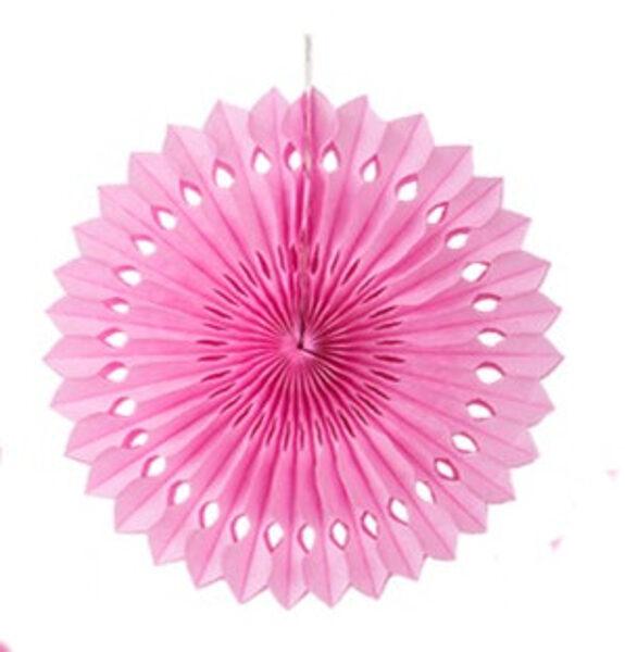 Atvērams papīra svētku dekors - rozete - 35 cm, gaiši rozā