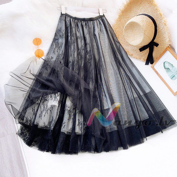 Tulle skirt with lace, black + white