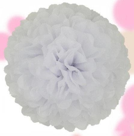 Pompons - zīdpapīra zieds - 10 cm 15 cm , 20 cm - balts