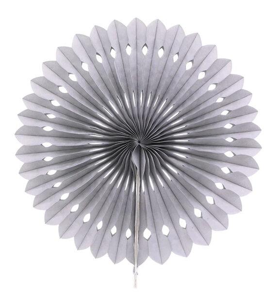 Atvērams papīra svētku dekors - rozete - 20 cm, pelēka