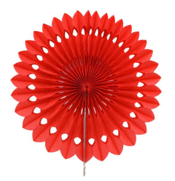 Atvērams papīra svētku dekors - rozete - 20 cm, sarkana