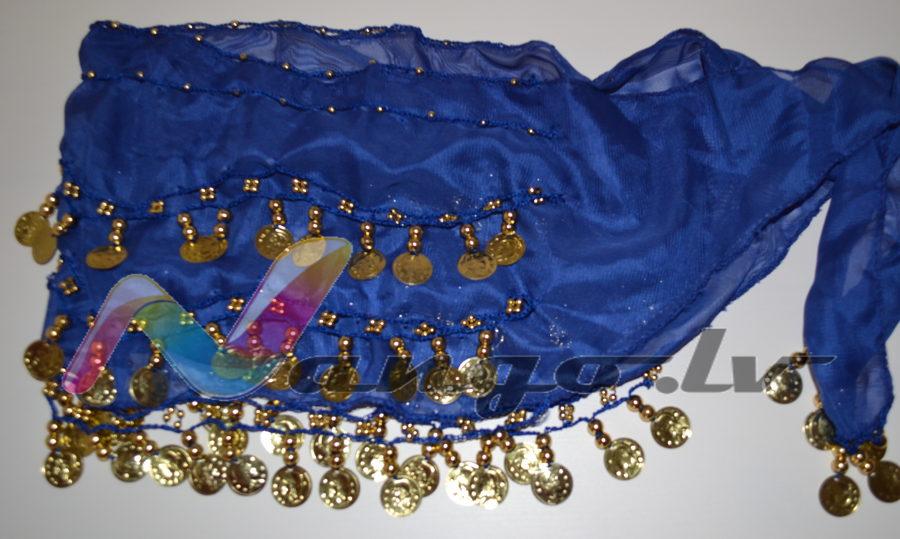 Hip belt for oriental dances, blue