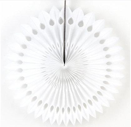 Atvērams papīra svētku dekors - rozete - 20 cm, balta