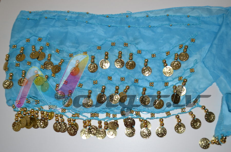 Hip belt for oriental dances, light blue