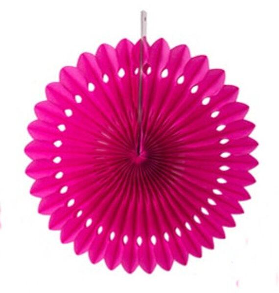 Atvērams papīra svētku dekors - rozete - 20 cm, rozā