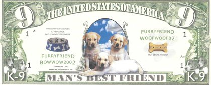 Nine dollars - Man's best friends, souvenir banknote