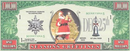 Million Dollars  - Seasons Greetings, souvenir banknote