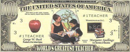 Million Dollars  - World's Greatest Teacher, souvenir banknote