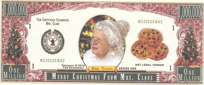 Million Dollars  - Merry Christmas, souvenir banknote