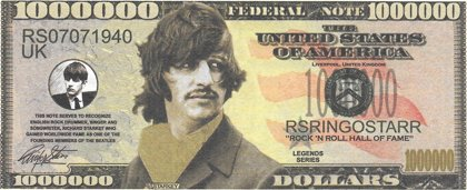 Million Dollars  - Beatles - Starkey, souvenir banknote