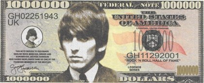 Million Dollars  - Beatles - Harrison, souvenir banknote
