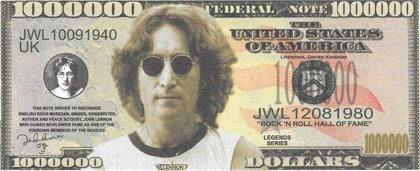 Million Dollars  - Beatles -  Lennon, souvenir banknote