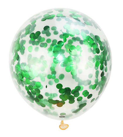 Balloon translucent with green confetti, 30 cm