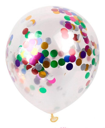 Balloon translucent with multicolor confetti, 30 cm