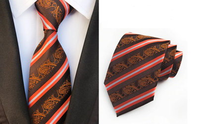 Striped Jacquard Tie, brown - K20