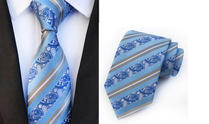 Striped Jacquard Tie, light blue - K18