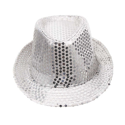 Disco hat is silver - white