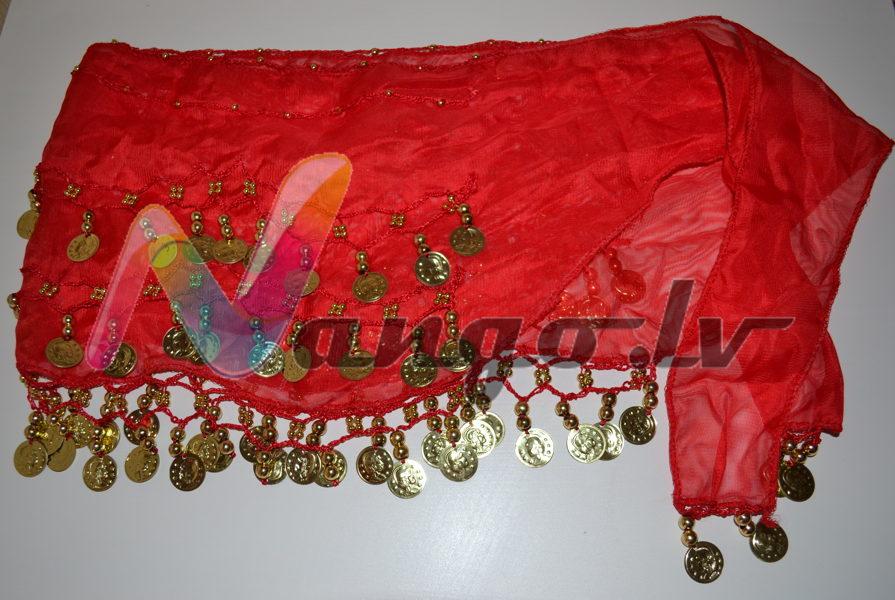 Hip belt for oriental dances, red
