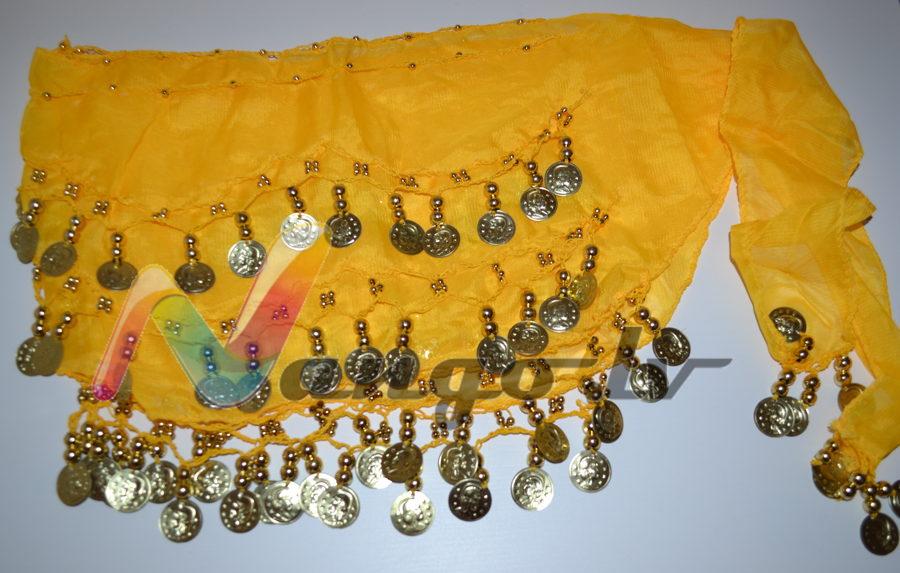 Hip belt for oriental dances, yellow