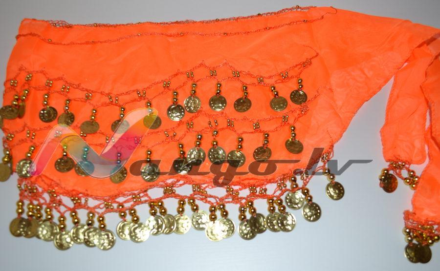 Hip belt for oriental dances, orange
