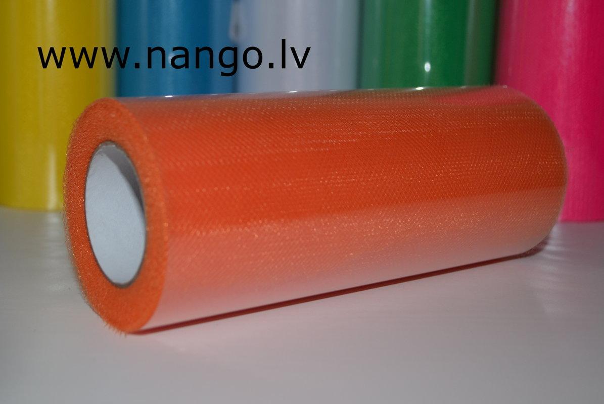 Ribbon from tulle orange 22 m x 15 cm