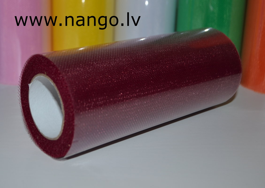 Ribbon from tulle wine red 22 m x 15 cm