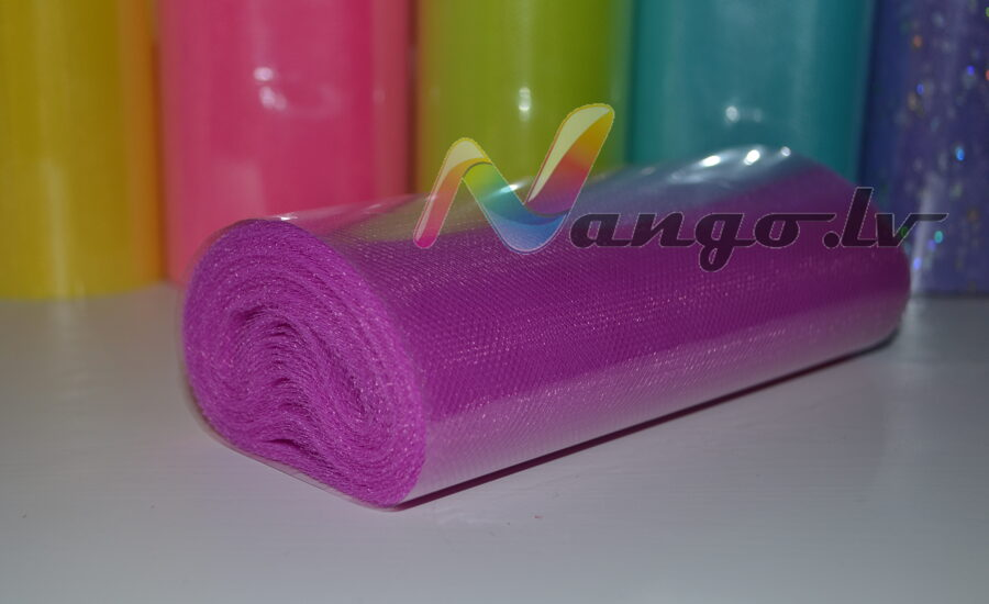 Ribbon from tulle 22 m x 15 cm purple