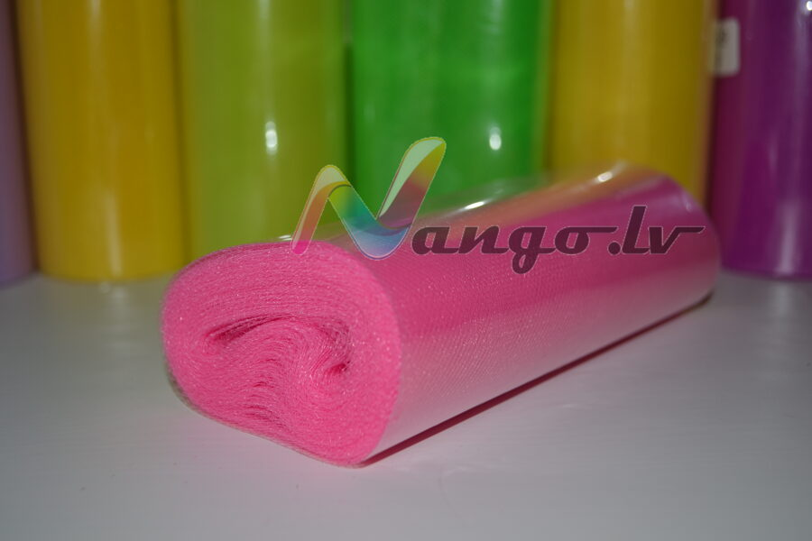 Ribbon from tulle 22 m x 15 cm roze