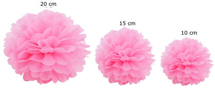 Pompons set of 15 - light roze