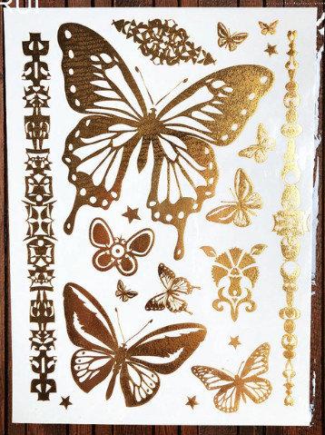 Pagaidu zelta un sudraba metāla tetovējums - uzlīme PT01