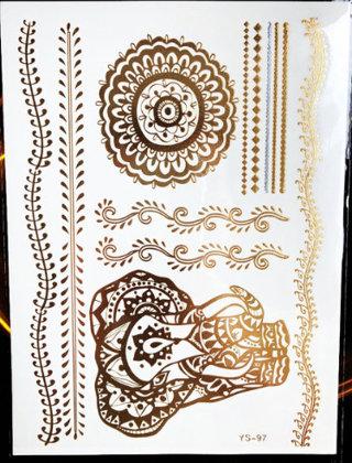 Pagaidu zelta un sudraba metāla tetovējums - uzlīme PT06
