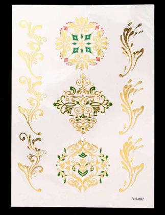Pagaidu zelta un sudraba metāla tetovējums - uzlīme PT28